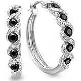 Sterling Silver Round Ladies Hoop Earrings