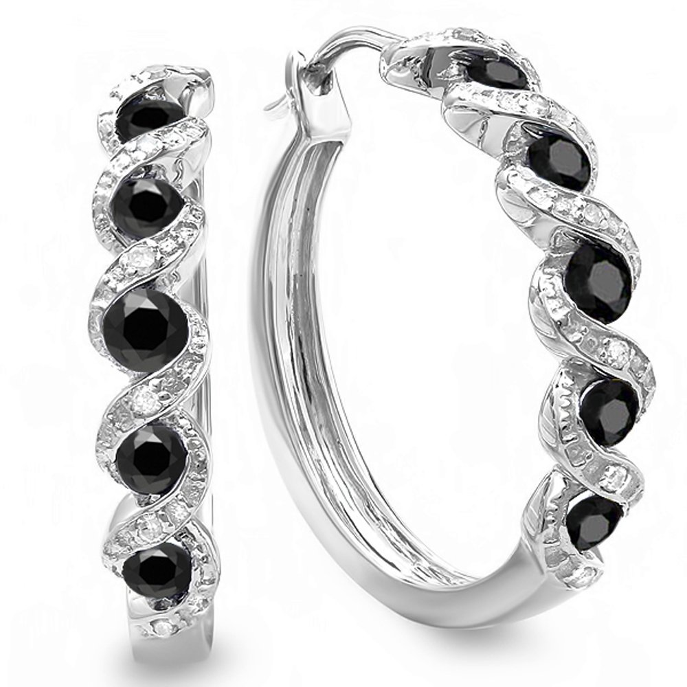0.86 Carat (ctw) Sterling Silver Black and White Round Diamond Ladies Hoop Earrings