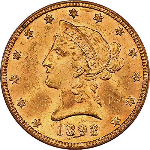 - 1892 P $10 Liberty Gold Ten Dollar MS63 PCGS