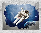Outer Space Decor Tapestry, Astronaut on Grunge Half Done with Geometric Brushstroke SciFi Modern Art, Wall Hanging for Bedroom Living Room Dorm, 60 W X 40 L Inches, Blue Biege