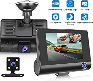 "Dash Cam Front and Rea, Dash Camera 4"" 1080P Full HD Driving Recorder Loop Recorder Night Vision G Sensor 170° Wide Angle Dashcam"