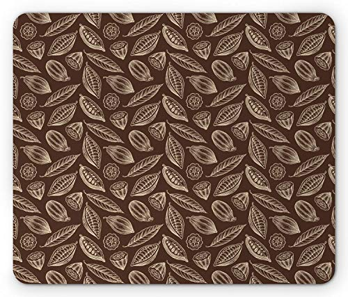 (SHAQ Cocoa Mouse Pad, Organic Flowering Harvesting Cocoa Beans Seeds Tropic Plants Fresh Exotic Design, Standard Size Rectangle Non-Slip Rubber Mousepad, Cream Chocolate )