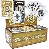 12 Decks (Black/Gold) of Brybelly Elite Medusa Back Casino-Quality Playing Cards - Wide Size / Regular Index