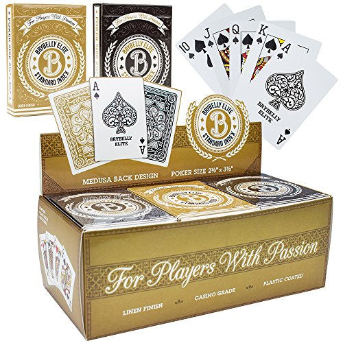 Brybelly 12 Decks of Elite Medusa Back Casino-Quality Playing Cards - Poker Wide Size/Regular Index, Plastic-Coated Cards with Pop-Out Box