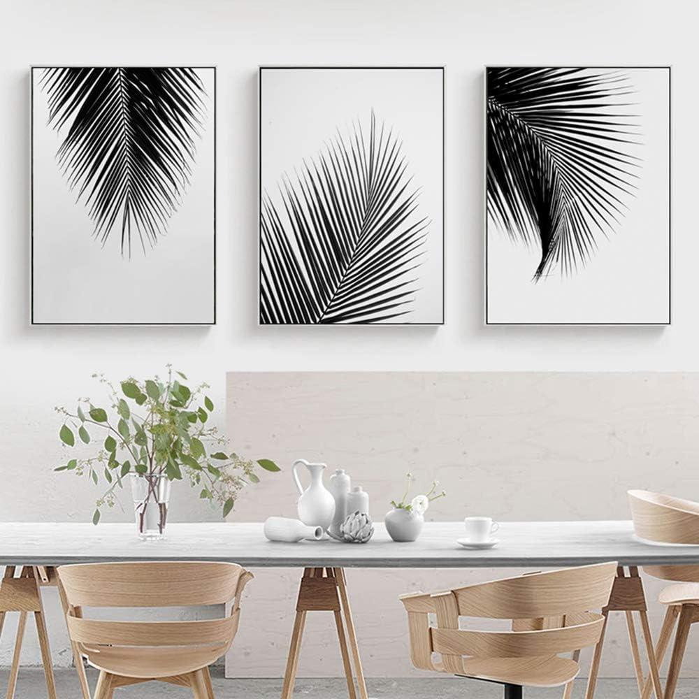 Negro Blanco Gris Palmera Hojas Carteles de Lona Impresiones Pintura Minimalista Arte de la Pared Cuadro Decorativo Estilo nórdico Decoración del hogar C