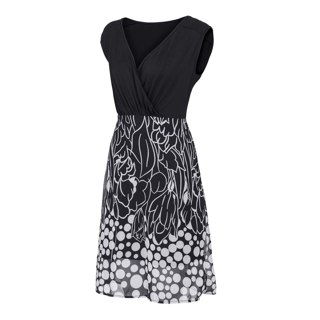 Women's Sleeveless V-Neckline Lace Top Plus Size Cocktail Party Pots Printed Swing Dress (XL, Black) by Twinsmall (Image #5)