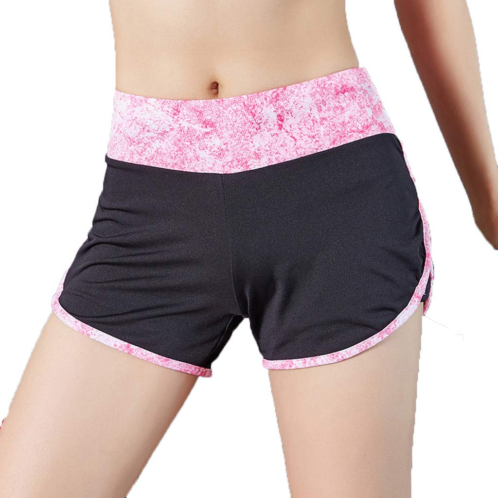 Sunyastor Women's Dolphin Running Workout Shorts Yoga Sport Fitness Short Pant Performance Elastic WAIS Printed Shorts S-L Pink