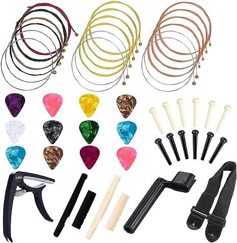 Kit de accesorios para guitarra, 48 piezas de cuerdas para ...