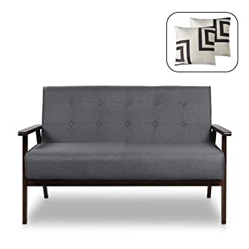Remarkable Mid Century Modern Solid Loveseat Sofa Upholstered Fabric Couch 2 Seat Wood Armchair Living Room Outdoor Lounge Chair 50W Fabric Machost Co Dining Chair Design Ideas Machostcouk