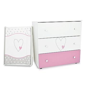 Commode à langer bébé enfant Table à langer + Matelas à langer amovible - 3  tiroirs Cœur rose Matériel de Haute Qualité