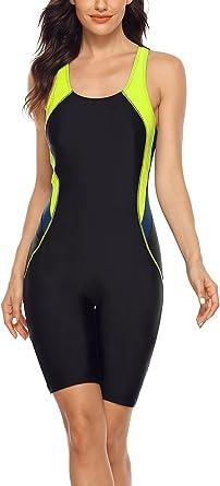 beautyin Women's Boyleg One Piece Swimsuit Racerback Athletic Bathing Suit