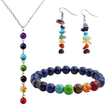 Amazon.com: 7 Chakra Healing Balance Bracelets Necklace ...