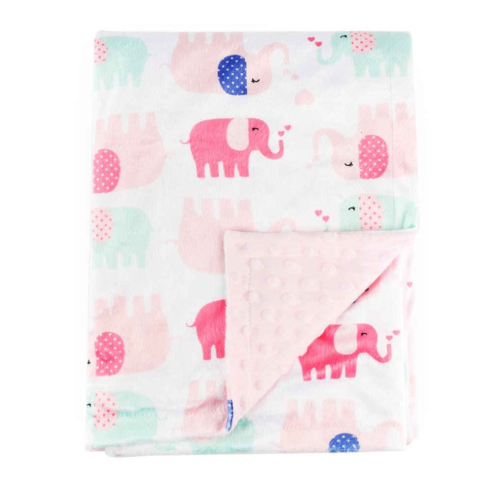 Boritar Nursery Receiving Blankets Super Soft Minky with Double Layer Dotted Backing, Lovely Pink Elephants Printed 30''x40''