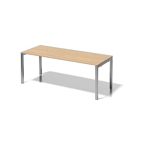 Bisley Cito Schreibtisch, 740 mm höhenfixes U, H 19 x B 2000 x T 800 mm, Dekor ahorn, Gestell Silber, Metall Mp355, 80 x 200