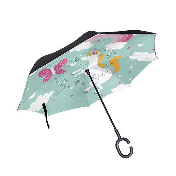 FANTAZIO inversé Parapluie Papillon et Licorne Double Couche ...
