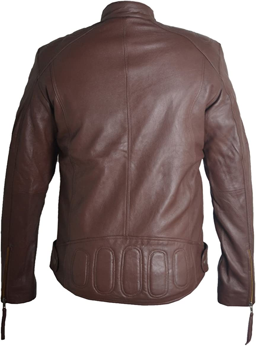 Blazrd Mens Biker Vintage Cafe Racer Real Leather Jacket