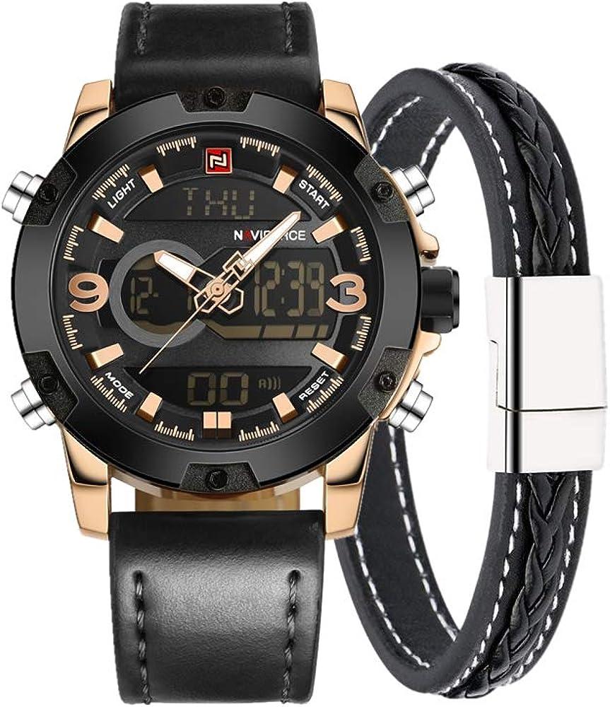 Naviforce reloj de los hombres del deporte militar moda analógico Digital reloj de pulsera, correa de piel, alarma, Legal, doble zona de tiempo, luz LCD (negro/Rosegold)