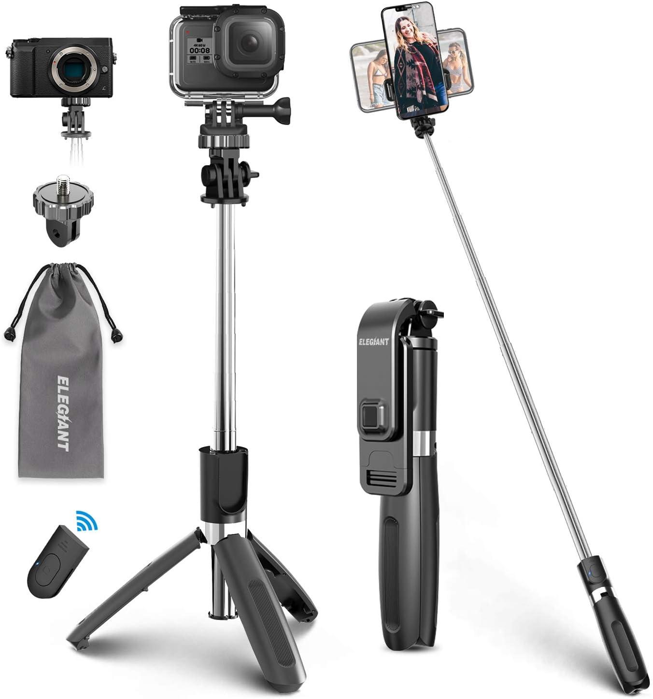 ELEGIANT Palo Selfie Trípode Bluetooth, 4 en 1 Selfie Stick Móvil con Control Remoto, Deportivo Extensible para Viaje, Monopié con Obturador Rotación 360° para Gopro, Mini Cámara, Celular Android iOS