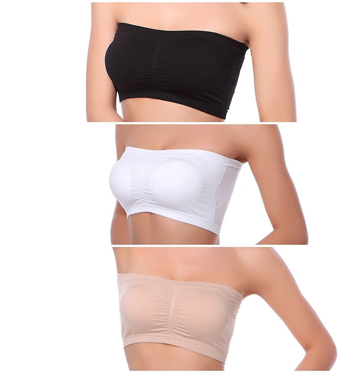 97e9d301a51 Xuvozta Women Bandeau Bra Support Solid Color Padded Tube Top Bra Soft  Stretch Strapless Bra (Black White Beige) L at Amazon Women s Clothing  store