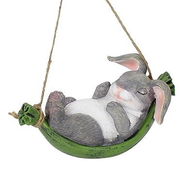 XAUIIO Swing Simulation Cute Resin Rabbit Outdoor Garden Statue Landscape Hanging Decoration, Creative Home Animal Statue Gifts : Garden & Outdoor