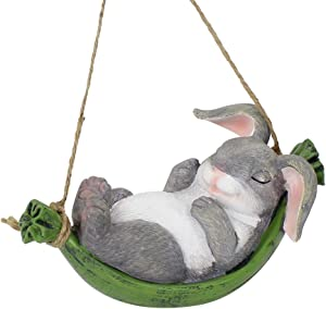 XAUIIO Swing Simulation Cute Resin Rabbit Outdoor Garden Statue Landscape Hanging Decoration, Creative Home Animal Statue Gifts