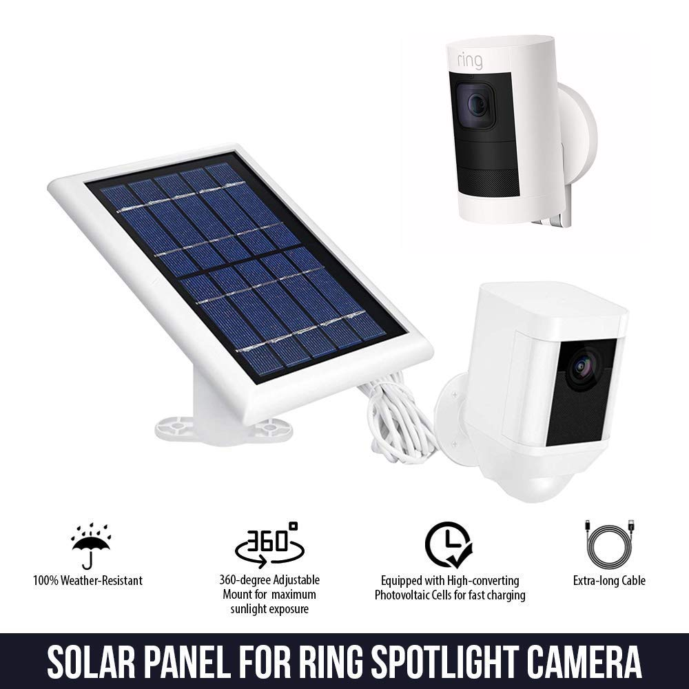 Solar Panel for Ring Spotlight Camera Power Your Ring Spotlight Cam Continuously with Our New Solar Charger by Wasserstein 2 Pack, White