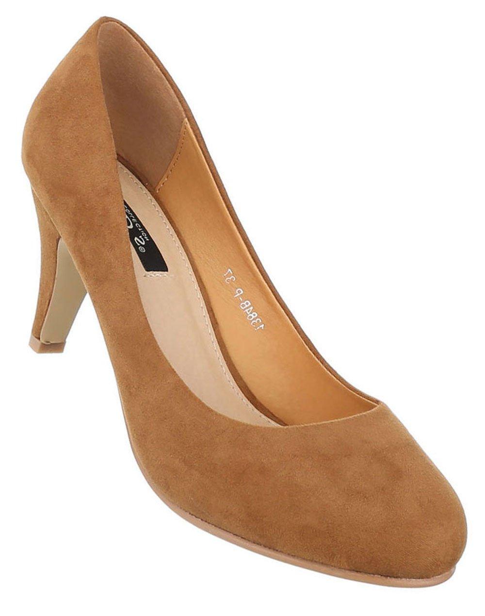 Schuhcity24 Klassische Pumps | Damen High Heels | Runde Stilettos Leder-Optik | Buuml;roschuhe Schuhe Leder-Optik | Abendschuhe Kleiner Absatz36 EU|Camel