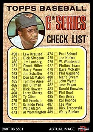Amazoncom 1968 Topps 454 Tch Checklist 6 Frank Robinson