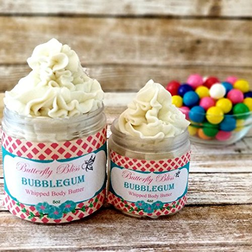 Bubblegum Whipped Body Butter, natural lotion, organic, 8oz jar, made with shea butter, mango butter, coconut oil, almond oil