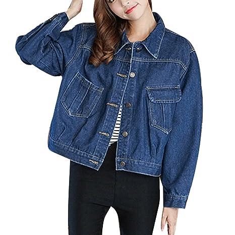 4544812a49656c Donna Boyfriend Giubbotto Giacchetta Vintage Giacchetti Jeans Corti  Outerwear Giacca di Jeans Larga Blu Scuro L
