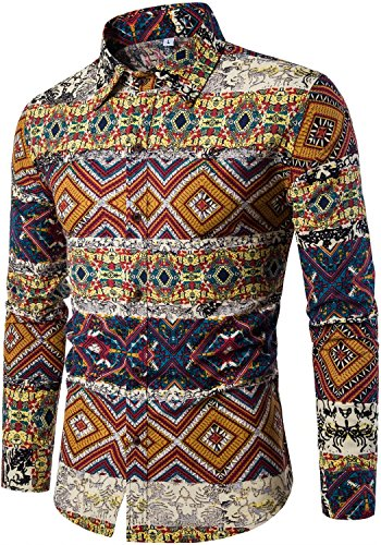 HENGAO Men's Long Sleeves Novelty Design Tribal Aztec Floral Print Regular Fit Button Down Dress Shirt, Brown, M/38R = Tag (Tribal Button Down Shirt)