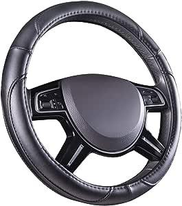 AmazonBasics Leatherette Steering Wheel Cover, 15″, Black