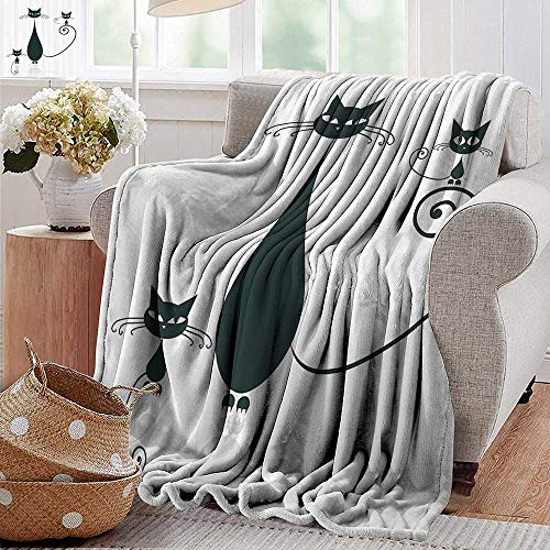 PearlRolan Ultra Soft Flannel Blanket Cat Silhouette Mom and Kids Animals Simplicity Halloween Decorative Illustration Black White Lightweight Microfiber All Season for Couch or Bed 50