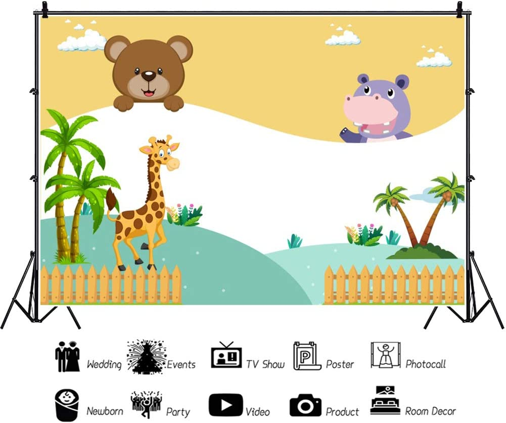 YEELE Cute Giraffe Bear Backdrop 10x8ft Happy Kids Birthday Party Photography Background Baby Shower Decoration Preschool Event Kids Daughter Sons Artistic Portrait Photoshoot Props Wallpaper