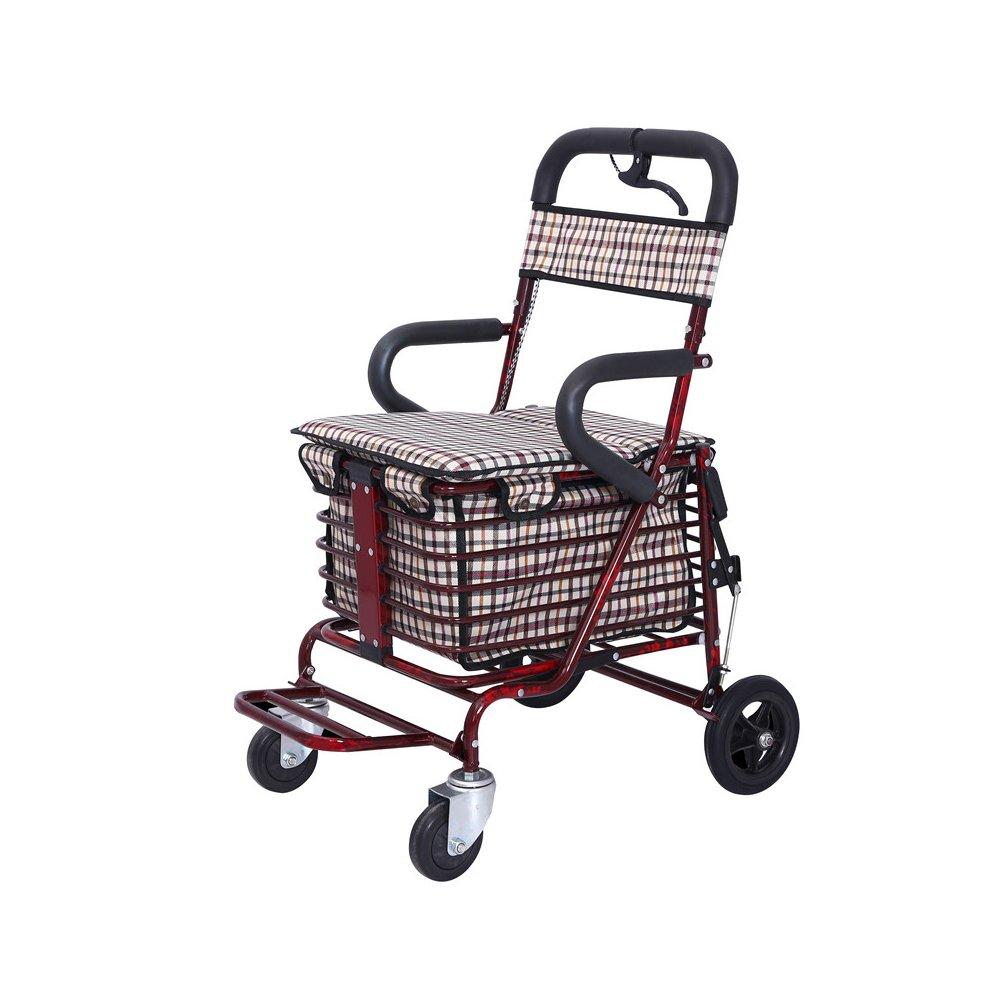 毎日 高齢者ウォーキング/トロリー/ショッピングカートは、老人旅行を座ることができます高品質のスチール折りたたみ車サイズ:53 * 45 * 90センチメートル B07D5XPH2M