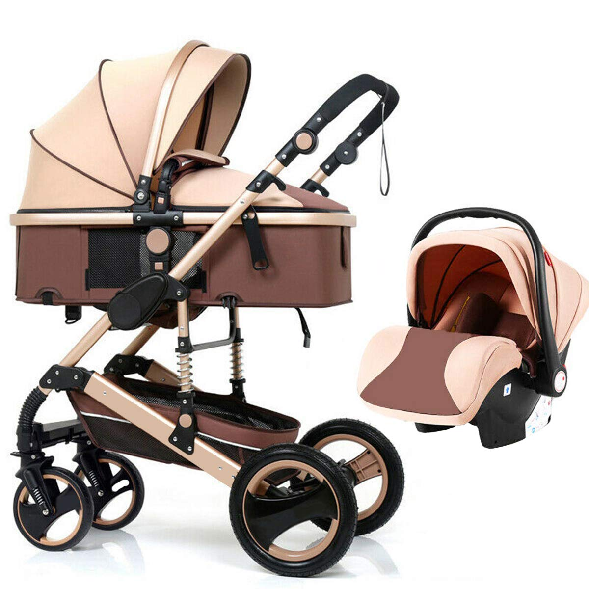 Portable 3 in 1 Baby Stroller,Foldable Carriage Pram Stroller with Baby Basket Car Seat Damping System Protection Adjustable High Landscape Pram Travel System Pushchair,Grows with Child Khaki by MEARTEVE