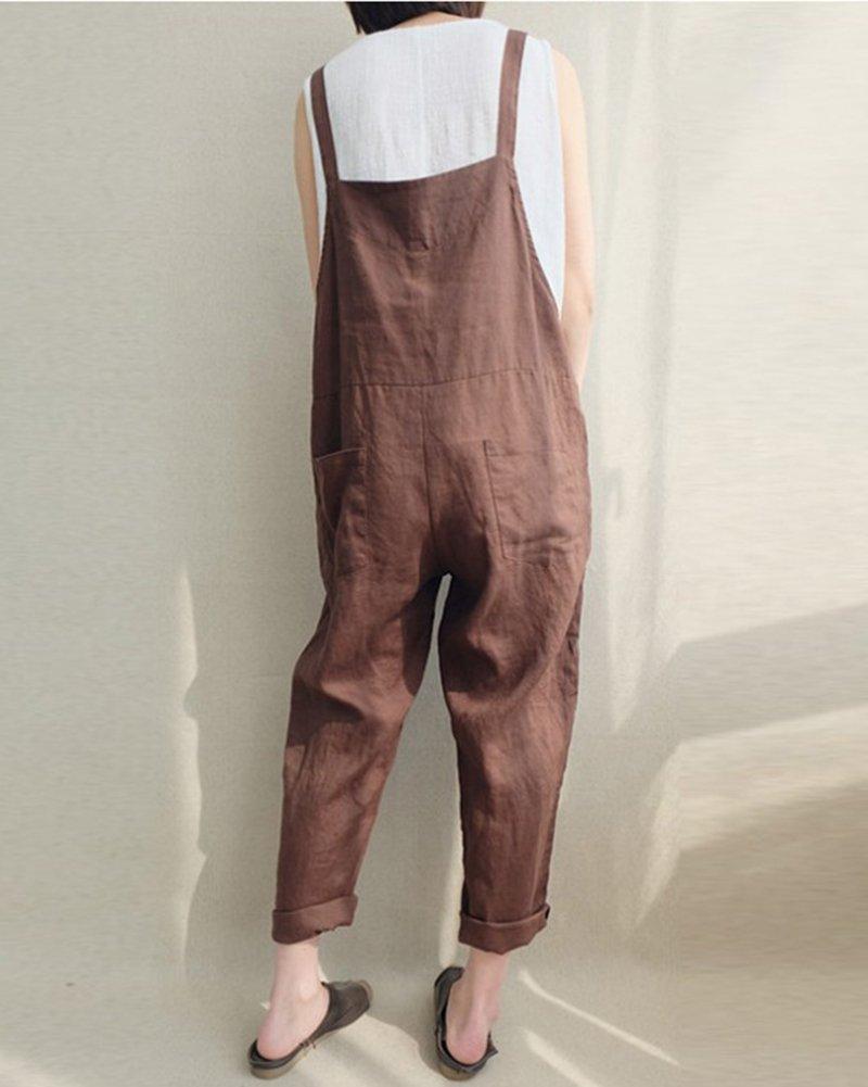 Mujer Pantalones Vintage Dianshaoa Casual Respirable Talla Lino De vnwN80yPOm