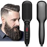 Beard Straightener for Men Ionic Beard Straightener Comb 2019 New Design Electrical Heated Hair Straightening Brush with Faster Heating, PTC Ceramic Technology, Auto Temperature Lock, With Sticker, For Home Travel USE