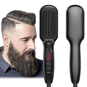 Beard Straightener, Beard Straightening Comb, Beard Straightener for Men, Electrical Heated Hair Straightening Brush with Faster Heating, PTC Ceramic Technology, Auto Temperature Lock, For Home Travel