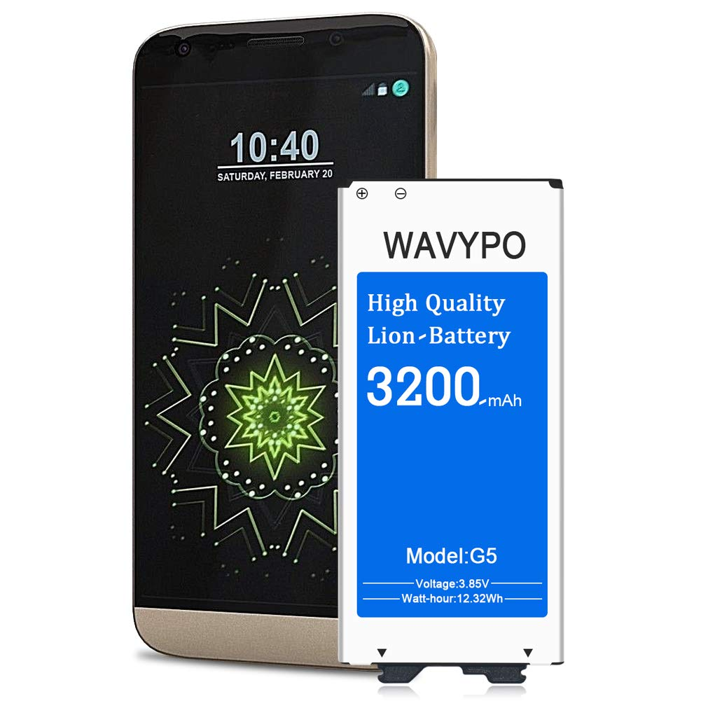LG G5 Battery Wavypo 3200mAh Replacement Battery Li-ion for LG G5 BL-42D1F US992 VS987 LS992 H820 H830 H845 Dual H850 H858 Spare Battery [24 Month Warranty]