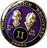 20 year AA Medallion Purple Tri-Plate Founders Bill & Bob Chip XX