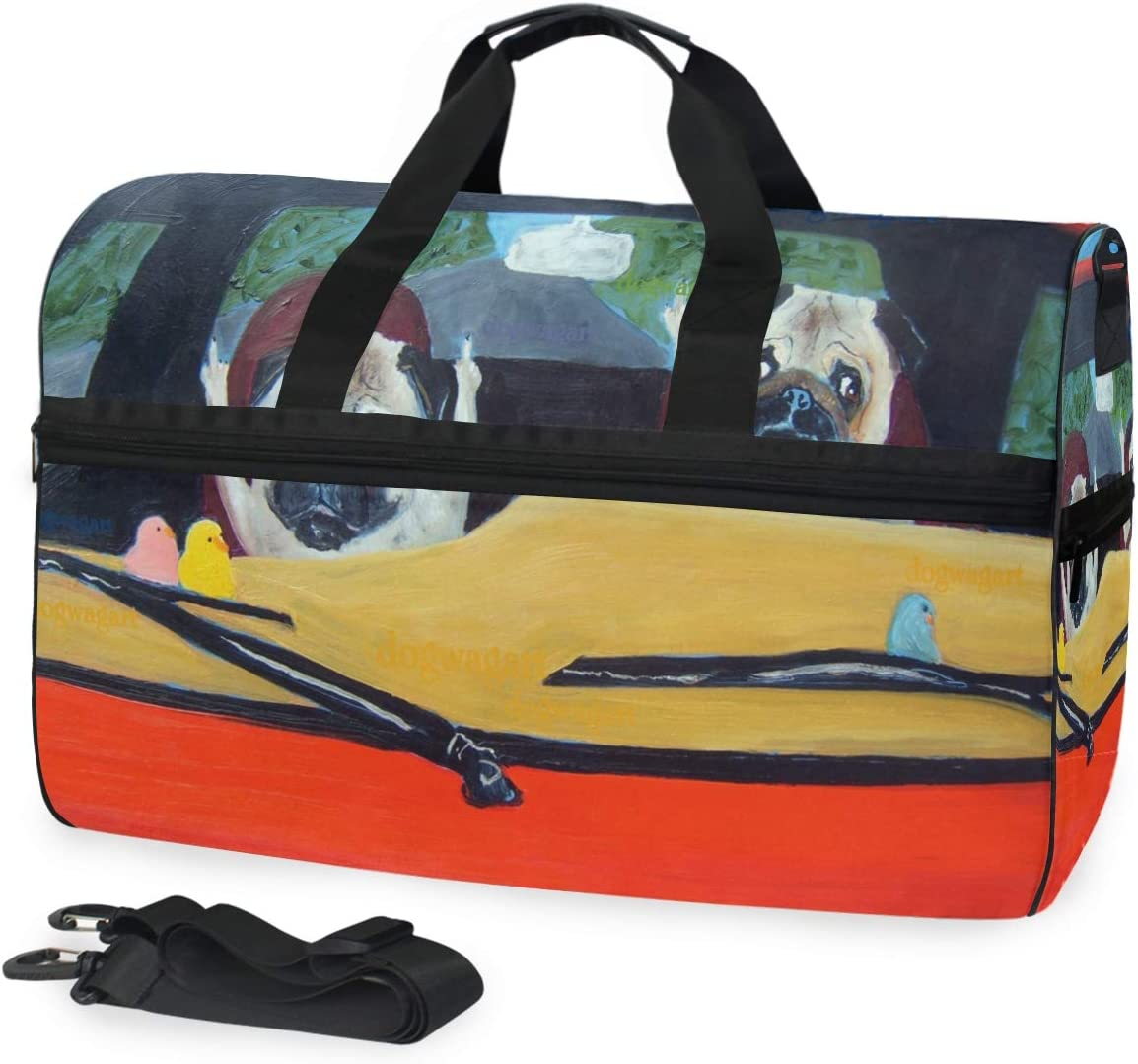 Pug Print Of Oil Painting Road Gym Bag with Shoes Compartment Sports Swim Travel Overnight Duffels