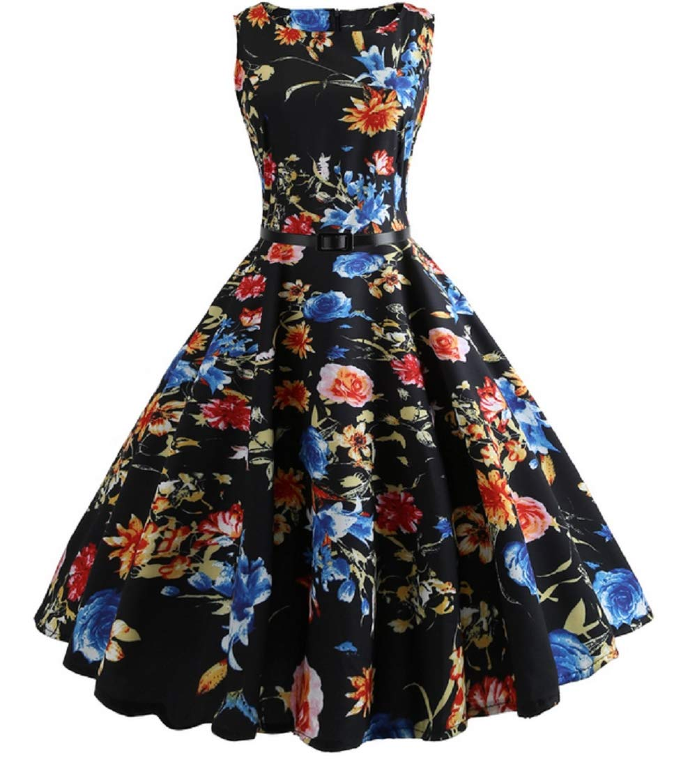 blueeeonblack XL Women's Vintage 1950s Classy Rockabilly Retro Floral Pattern Print Cocktail Evening Swing Party Dress