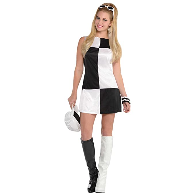 1960s Style Dresses, Clothing, Shoes UK Mod Girl Ladies Fancy Dress Swinging 60s Go Go Girl Womens Adults Costume Outfit (Large UK 14 -16) �12.12 AT vintagedancer.com