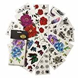 Floral Butterfly Tattoos (Pack of 12 Sheets) Bright Colorful 3D Flower Temporary Tattoo