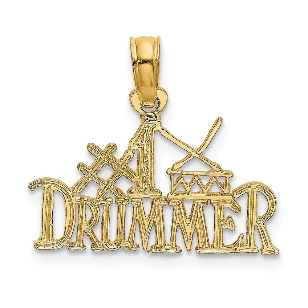 FB Jewels 14K Yellow Gold #1 Drummer Pendant