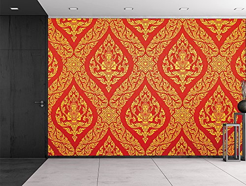 wall26 Traditional Thai painting in red and gold - Ornate temple decoration - Wall Mural, Removable Sticker, Home Decor - 66x96 inches by wall26