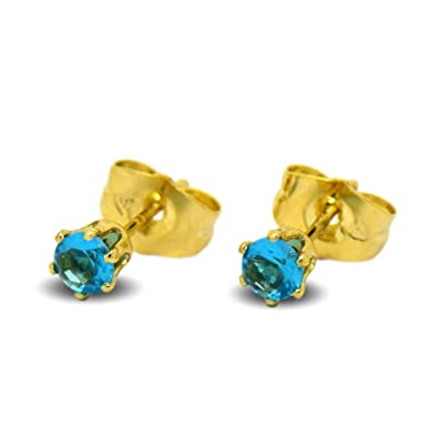 bd596246081573 Blue Diamond Club - Tiny 9ct Yellow Gold Filled Womens Stud Earrings Girls  Round Small 4mm