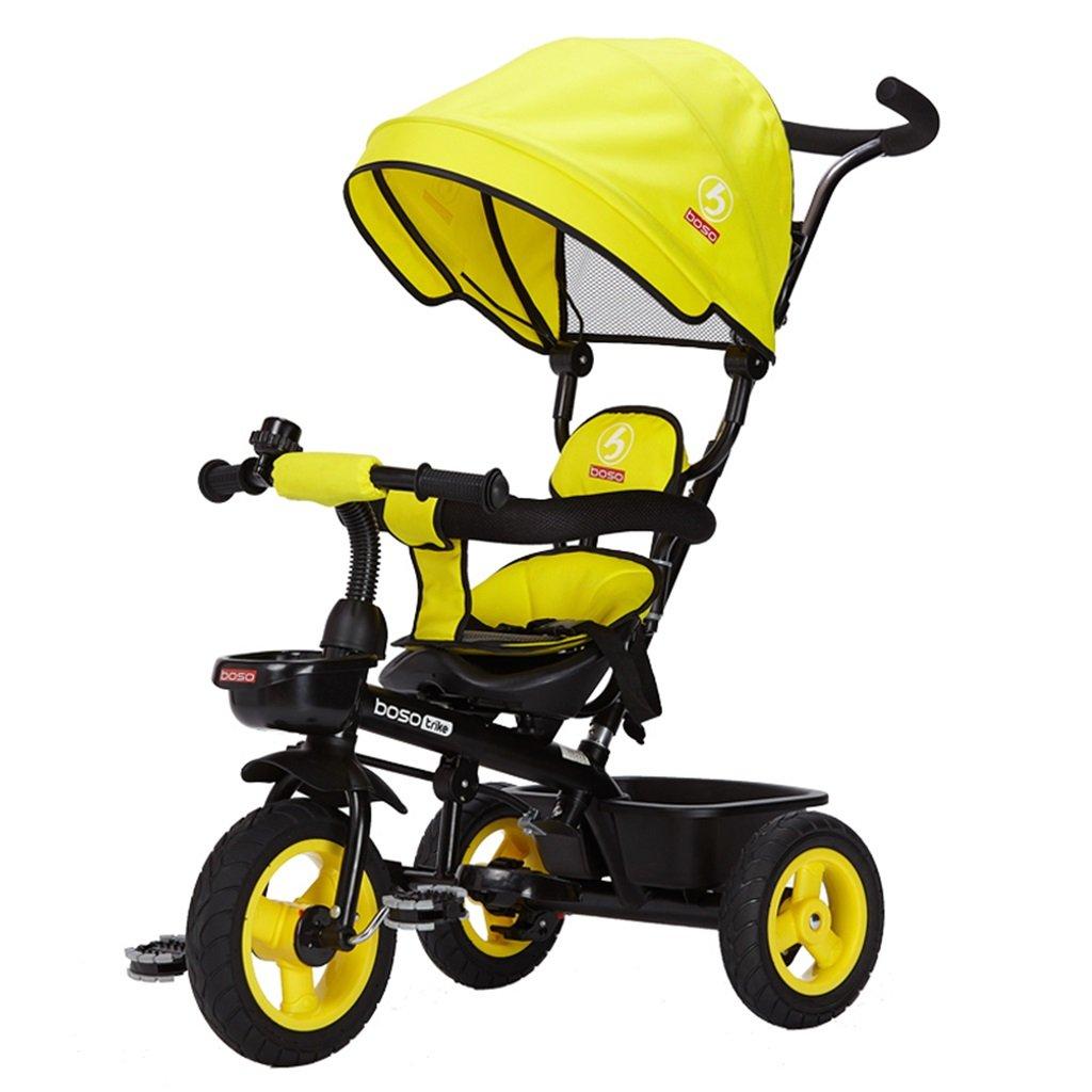 HAIZHEN マウンテンバイク 子供の三輪車のフロントホイールクラッチ非インフレータブルチタンの空の車の自転車2-6歳の保護調節可能な天井のトロリー 新生児 B07DLC2Q86イエロー いえろ゜