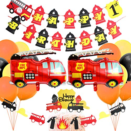 Fire Trucks Party Supplies - Firefighter Baby Shower Birthday Party Decorations - Happy Birthday Banner, Foil Balloons, Cake Topper, Red Orange Latex Balloons
